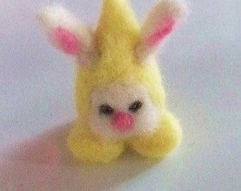 needle felted gnome, easter bunny handmade OOAK wool doll, soft toy,waldorf,pocket play people