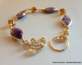 Purple Russian Charoite Bracelet 14k Gold Fill, Purple Bracelet, Purple Yellow Gemstone Bracelet, Small Luxury Jewelry