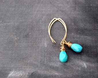coax... gold turquoise earrings / 14k gold filled almond ear & faceted turquoise drop earrings / december birthstone