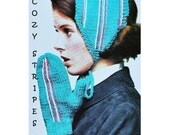 Digital Download Knit & Stripe Embroidered Earwarmer and Mittens Pattern - Retro PDF Knitting Supplies Knitting Patterns