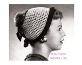 Digital Download 40's Knitted Winter Cap Pattern - Old Vintage Knit Hat PDF Pattern to Accomodate Your Ponytail - Knitting Supplies