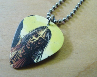 Long Haired Zombie - The Walking Dead Guitar Pick Necklace 30 Inch Stainless Steel Ball Chain