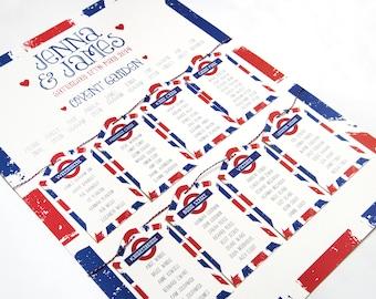 London Underground Seating Plan, London Table Plan, London Wedding, Seating Plan, Underground Logo, A2
