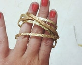 Skinny Textured Recycled Brass Stacking Cuffs