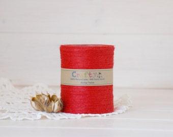 Burlap Twine 400 Yards - 100% Natural Jute String - Color Red  -  400 Yards Spool -  Valentine's Jute Twine - Red Burlap String