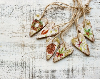 Set of Christmas ornaments Christmas decoration rustic cottage chic shabby chic red white gold