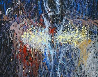 Abstract Ballet Art - Ballerina Painting Print - Dancer Print - Blue Canvas - Ballerina Decor - Canvas Art - Art Decor