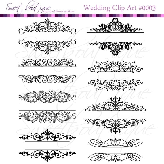 Diy Wedding Word Banners: Vintage Calligraphy Clip Art Clipart DIY Wedding Invitation