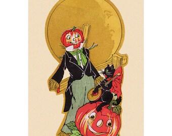 Halloween Fabric Block - Pumpkin Head Scarecrow with Cat Plays Banjo