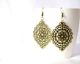 Victorian brass earrings, boho gypsy antique