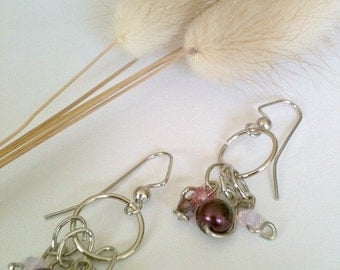 Silver Dangle Handmade Earrings With Plum Bead and Swarovski Crystals