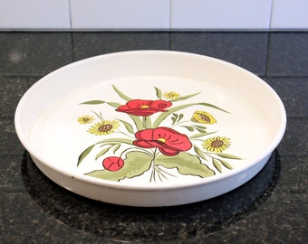 Poppies that Pop … Vintage Metal Serving Tray, Hand-painted Poppies and Sunflowers - 1960s or 1970s