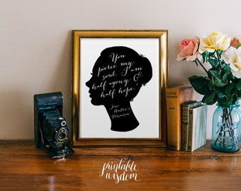 Jane Austen printable quote print art wall art wall decor inspirational quote print jane austen silhouette art digital Printable Wisdom