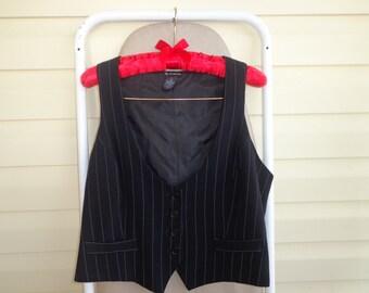 Vest Black Retro Women's Vintage Black Pin Striped Vest Hipster