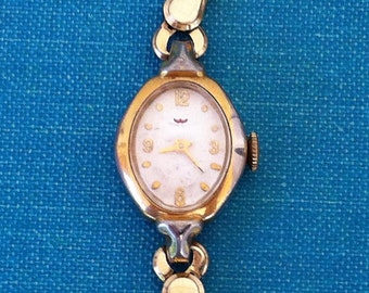 Vintage Women's Waltham 17 Jewel Watch - Marquise Shaped Gold Filled with White Dial - W Logo on Dial - W logo on Crown, FREE SHIPPING