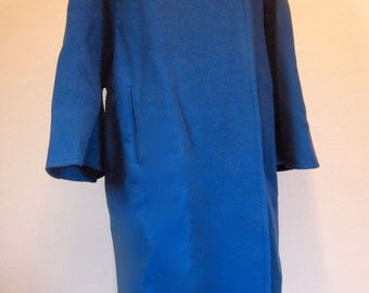 Vintage Couture Norman Hartnell Le Petit Salon blue pure wool full length coat size 40