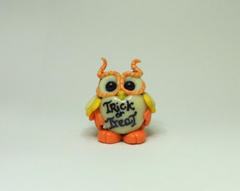 Cute halloween candy corn glow in the dark polymer clay owl figurine