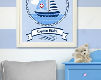 Nautical Nursery Art - Custom nursery art - Nautical Nursery  Prints, Nautical Baby Nursery Room Decor,  Sailboat print ,