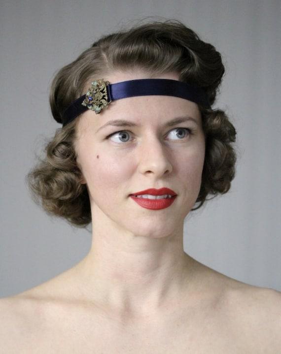 "Navy Headband, 1920s Style Head Piece, Art Nouveau Hair Accessory, Edwardian, Flapper Headband, 1920s Style, Victorian Gold - ""Josephine"""