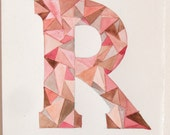 Letter R illustration geometric. Watercolor painting of letters. Personalized gifts. Typography art. Pale pink, beige and brown watercolor