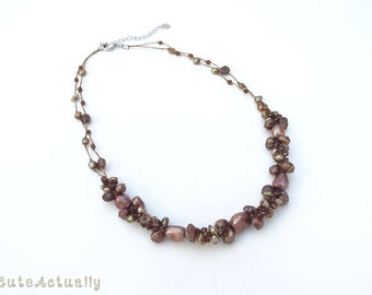 Brown freshwater pearl necklace with glass beads on silk thread, bronze pearl necklace, dark brown