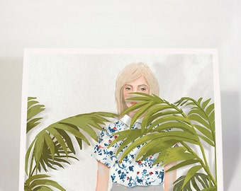 Secret / 30% OFF  SALE, woman, girl, palm tree, flowers, fashion, decoration, wall decor, poster, wall art, art, 18x24cm, 8x10in, 30x40cm