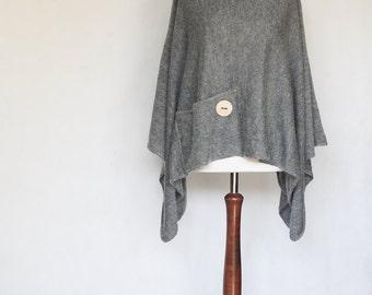 Womens sweaters, Knit poncho, gray poncho, wrap scarf, womens poncho, gray sweater, knit cape, knit scarf, wrap sweater, knit sweater
