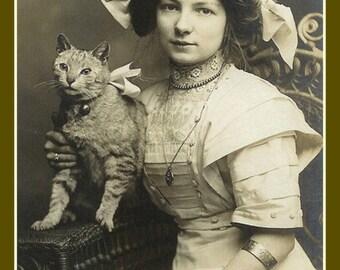 Fridge Magnet vintage Edwardian Lady with kitty cat Big Bows