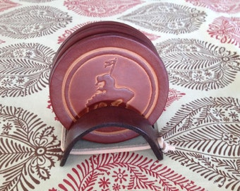 End Of Trail Bordeaux Brown Leather Coaster Set
