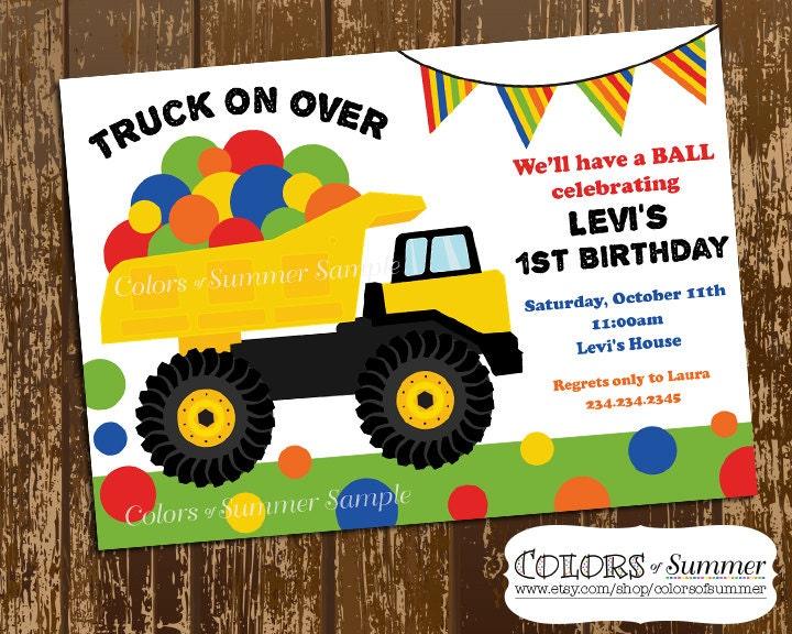 Dump truck invite – Truck Birthday Party Invitations