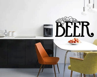 Beer Wall Decal Sticker Kitchen Quote Beer Wall Sticker (460)