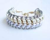 Silver Wrap Bracelet - White & Ivory satin cord braided gold and silver double chain Arm Candy