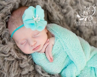 FREE SHIPPING! Aqua Newborn Headband, Aqua Headbands, Baby Flower Headbands, Newborn Headbands, Baby Girl Headbands