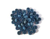 Wood Crow Beads, Blue, Czech Preciosa Beads, Colorful Beads, Hemp Macrame Beads, Macrame Jewelry Beads, 6mm x 10mm, 50 Beads