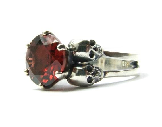 Skull Wedding Ring Blood Garnet Goth Wedding Sterling Silver Red Garnet Skull Engagement Ring