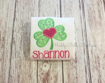 Girly Shamrock With Heart Appliqued Shirt - Embroidered Shirt, Personalized, Monogram, Girls, St. Patricks Day, Shamrock, Clover, Heart