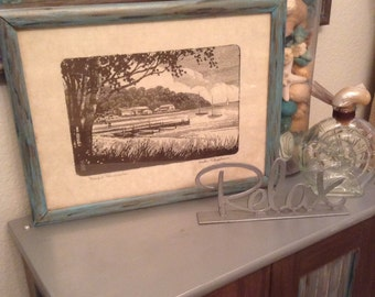 Vintage Pen and Ink  - Harlan Scheffler Picture - Beach Scene - Peaceful Peninsula - Upcycled Frame - Beach Art - Vintage Beach Picture