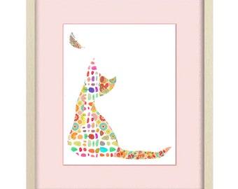 baby girl nursery art, cat art, Girl nursery decor, childrens art, nursery art, cat decor, baby shower gift nursery decor kids wall art