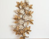 Gold and cream Homco roses branch wall hanging, vintage Hollywood Regency floral wall decor