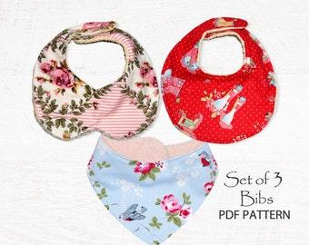Baby sewing pattern for Bibs, PDF Sewing pattern, Bandana Bib, Baby infant newborn toddler, Easy beginner, DROOL BIBS