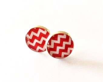 Red and White Chevron Pattern Resin Silver Post Earrings