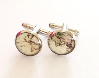 Vintage World Map Resin Silver Cuff Links