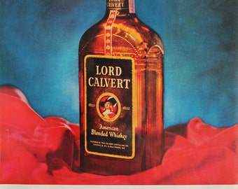 vintage advertising art on sale: 1958 Lord Calvert American blended whiskey advertisement with red and blue. mad men art. bar art