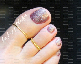 Big Toe Ring Combo - Gold - Stretch Bead Toe Rings