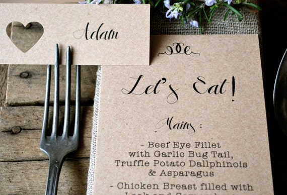 Kraft Wedding Place Card and Menu Set