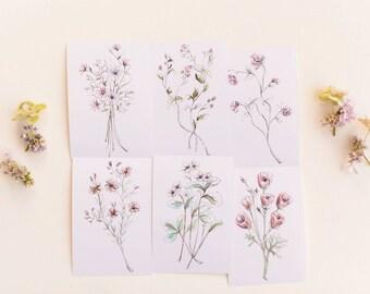 Beautiful Botanical Print Set, Set of 6 Floral Prints
