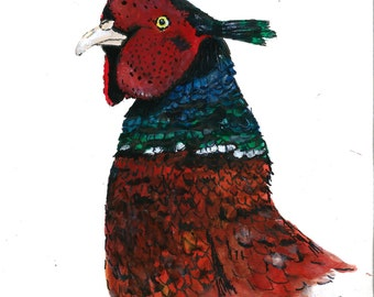 A5 Pheasant Illustration ORIGINAL