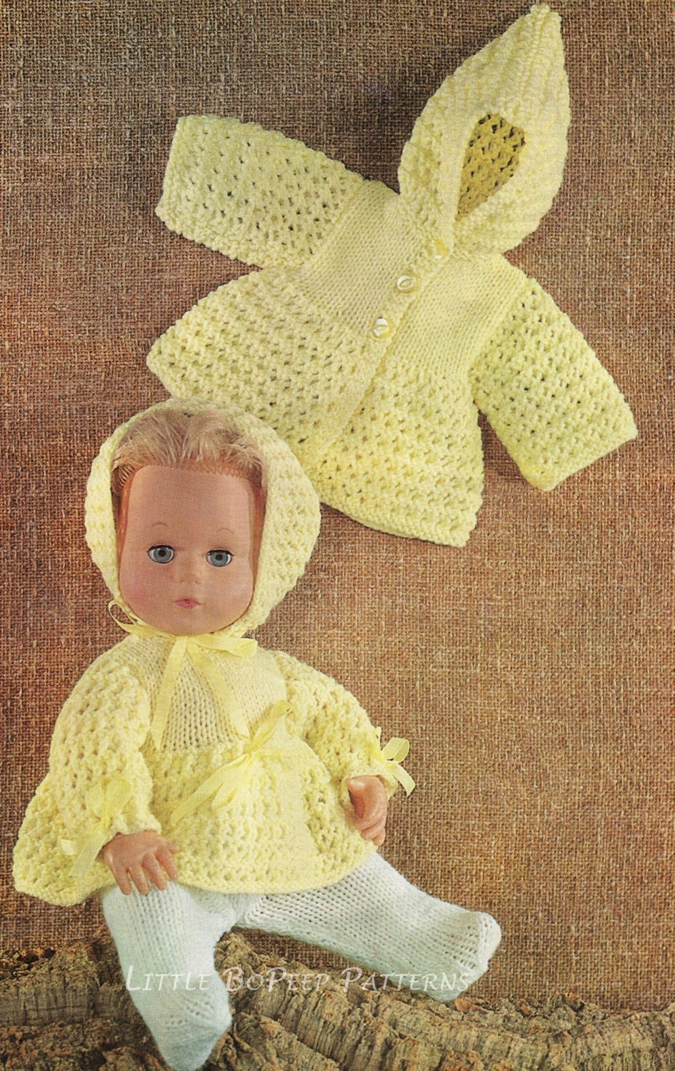 Vintage 14 inch Dolls clothes knitting pattern DOWNLOAD