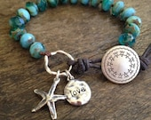 Starfish Knotted Turquoise Aqua Blue Leather Wrap Bracelet,  Sea Star Beachcomber by Two Silver Sisters twosilversisters