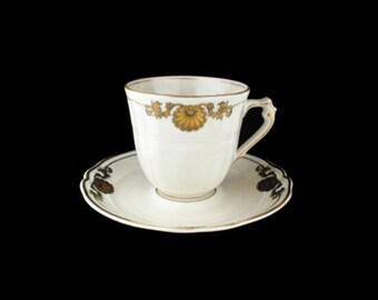 Vintage Bernardaud Limoges Ventadour Flat Cup and Saucer Set